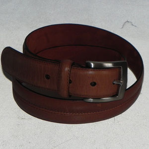 Cole Haan Brown Leather Belt, 34, Silver Buckle